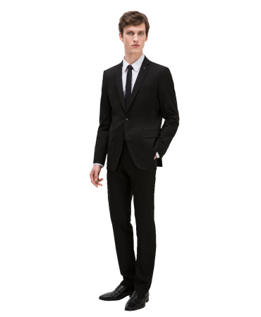 Basic suit. Chest pocket detail. Classic button fastening