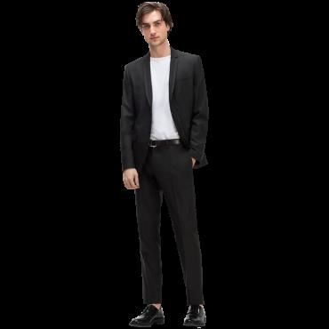 Black suit. Slim fit. Thin contrasting lapels