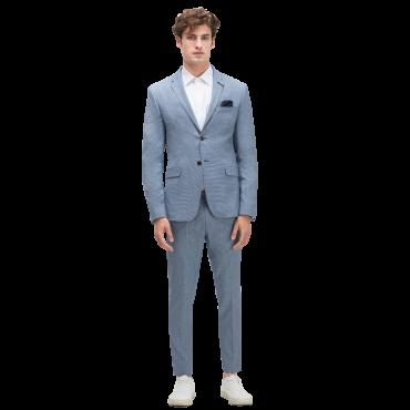 Blue Striped False Plain Suit Blazer