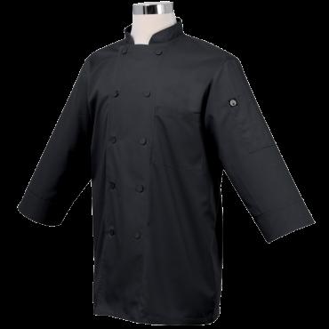 Chef Works JLCL-BLK-M Basic 3-4 Sleeve Chef Coat