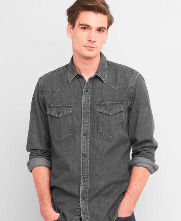 Lightweight denim slim fit western shirt
