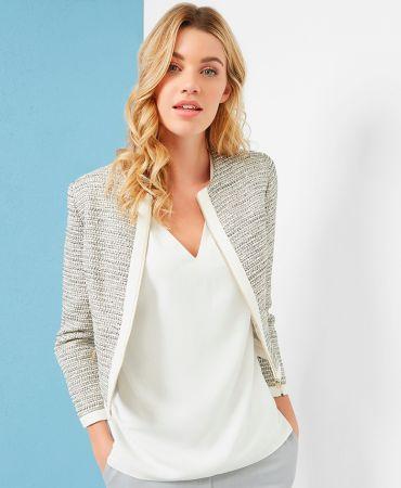 PREYAA Cropped sparkle boucle jacket